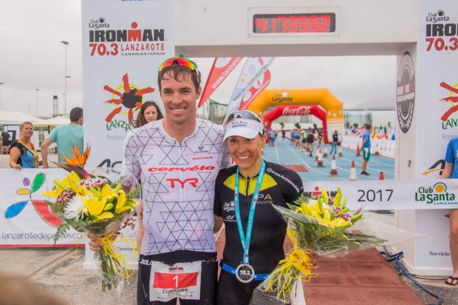 James Cunnama y Anne Haug,  triunfadores del IRONMAN 70.3 Lanzarote