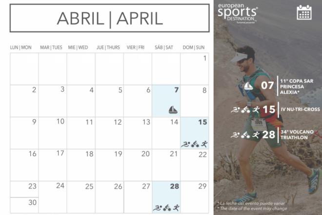 Sporting events taking place in April in Lanzarote